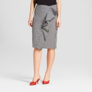NWT Who What Wear Gingham Ruffle Pencil Skirt 16
